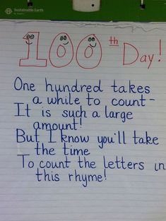 45 Best 100th Day of School Resources - Counting Letters Rhyme - Teach Junkie Kindergarten Anchor Charts, Kindergarten Teachers, Kindergarten Activities, Reading Activities, Preschool, School Holidays, School Days, School Fun, 100 Days Of School Centers
