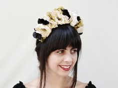 Black and White Frida Flower Crown Day of by BloomDesignStudio