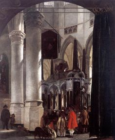 """Interior of the New Church at Delft with the Tomb of William the Silent - Emanuel de Witte.  1656.  Oil on canvas.  38 x 32 1/2"""".  Musee des Beaux-Arts, Lille, France."""