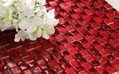 Nova Deko offers mosaic wall tiles made from glass and stone combination painted with red color provide an elegant look to wall Stone Mosaic Tile, Mosaic Wall Tiles, Mosaic Glass, Stained Glass, Mosaics, Window Seat Storage, Glass Tile Backsplash, Glass Panel Door, Modern Wall Decor