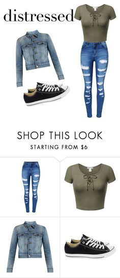 """denim city"" by adams-essie ❤ liked on Polyvore featuring WithChic, Yves Saint Laurent and Converse"