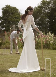 Romantic low backed lace gown by Stephanie Allin