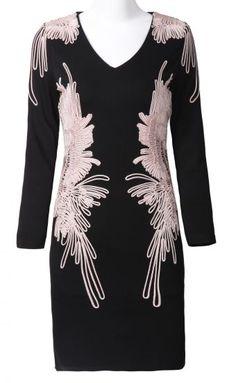 Black Long Sleeve V-neck Applique Embellished Dress pictures