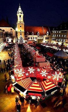 Christmas Market in Bratislava, Slovakia Christmas Markets Europe, Christmas Travel, Christmas Destinations, Winter Destinations, Chute Montmorency, Chateau Frontenac, Le Petit Champlain, Bratislava Slovakia, Celebration Around The World