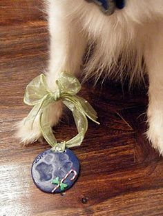 Christmas Tree Paw Print Ornaments