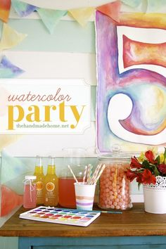 a little watercolor party fun for a little girl's fifth birthday party!