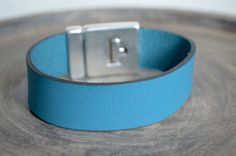 Personalized Leather Bracelet. Blue Leather. Magnetic by ByCeci