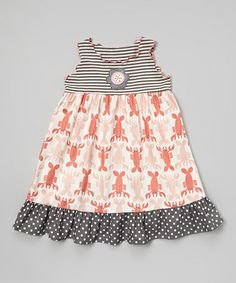 Look what I found on #zulily! Red & Gray Crawfish Ruffle Babydoll Dress - Toddler & Girls #zulilyfinds