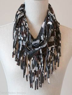Black, Brown & Grey Abstract Pattern Tassel Scarf