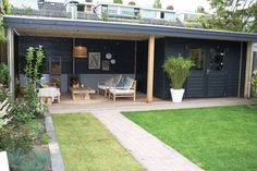 Garden house with veranda and stove made to measure by Jan de Boer Tuinhuizen. Backyard Patio Designs, Backyard Sheds, Backyard Landscaping, Pergola Designs, Small Gardens, Outdoor Gardens, Outdoor Rooms, Outdoor Living, Diy Pinterest