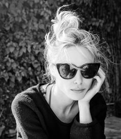 top knot and sunglasses