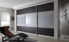Fitted sliding wardrobes. Highland oak, metal, grey sliding doors #supafit #slidingwardrobes #bedroomdesign #bedroom #sliders #interiordesign
