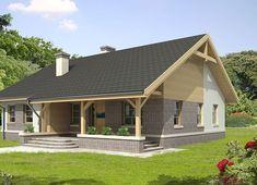 Projekt domu Agis 102,70 m² - koszt budowy - EXTRADOM Simple House Plans, Dream House Plans, Bungalow House Design, Contemporary House Plans, House With Porch, Home Technology, Facade House, Home Fashion, Log Homes