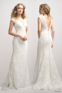 watters fall 2012 sleeveless v neck lace wedding dress