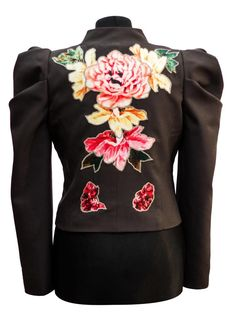 The back of a bolero jacket that we made this week - with appliqué flower work. ‪#‎bolero‬ ‪#‎BoleroJacket‬ ‪#‎AppliqueFlowers‬ ‪#‎AppliqueJacket‬ ‪#‎SaraTiara‬ ‪#‎PuffSleeves‬ www.saratiara.com