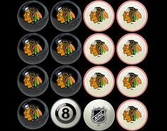 Other Billiards Balls 36102: Nhl Imperial Chicago Blackhawks Pool Billiard Ball Full Set - Black And Red BUY IT NOW ONLY: $229.0