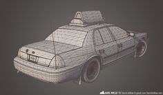 Karol Miklas Portfolio - NYC Taxi | www.karolmiklas.com | A model of NYC Taxi Ford Crown Victoria.    Unique mapping - a possibility to bake lighting to a texture.    40k triangles, 20.5k without wheels.    Diffuse, specular, emissive map.    Rendered in Marmoset Toolbag.