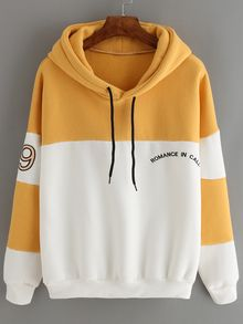Color-block Letter Embroidered Sweatshirt With Drawstring Mobile Site - hoodies men and women Inso Trendy Hoodies, Cute Sweatshirts, Hooded Sweatshirts, Hoodie Outfit, Pullover Hoodie, Sweater Hoodie, Jumper, Sweat Style, Yellow Clothes