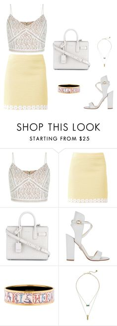 """""""Untitled #336"""" by nadiralorencia on Polyvore featuring Boutique Moschino, Yves Saint Laurent, Paul Andrew, Hermès and House of Harlow 1960"""