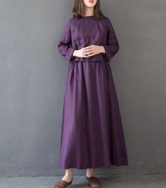 Vintage Women Linen Loose Maxi Dresses For Spring FantasyLinen Baggy Dresses, Linen Dresses, Maxi Dresses, Fall Skirts, Mini Skirts, Patterned Tights, Maxi Styles, Chiffon Maxi Dress, Cool Sweaters
