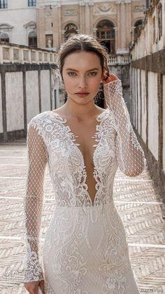 birenzweig 2018 bridal long sleeves deep plunging sweetheart neckline full embellishment elegant sexy fit and flare wedding dress open v back chapel train (11) zv -- Birenzweig 2018 Wedding Dresses