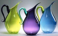jewel tone water pitchers handblown glass pitchers available in three . Water Pitchers, Glass Pitchers, Glass Bottles, Perfume Bottles, Wine Purse, Art Of Glass, Crystal Glassware, Jewel Tones, Carafe