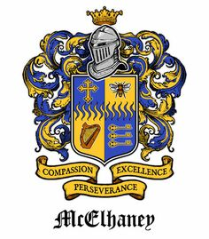 McElhaney Coat of Arms presented to Ryan McElhaney on the occasion of his 16th birthday. Designed and illustrated by Ryan's father, Brennen McElhaney. © 2013 All Rights Reserved. http://bmc.me/graphics