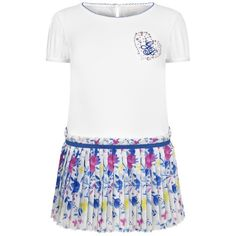 Guess White Jersey Dress With Pleated Floral Skirt