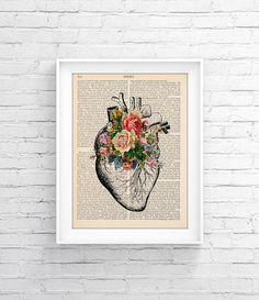 Upcycled Page book Print Vintage Illustration Print - Heart Roses - Wall decor Decorative Art Book Page Retro Poster Vintage Book print 037 - pinned by pin4etsy.com