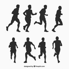 Running man silhouettes collection Free Vector