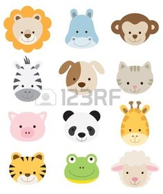 Vector illustration of animal faces including lion hippo monkey zebra dog cat pig panda giraffe tige Stock Vector Jungle Animals, Felt Animals, Cute Animals, Baby Animals Songs, Mother And Baby Animals, Baby Animal Games, Baby Animal Videos, Baby Farm Animals, Baby Animal Nursery