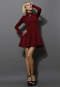 Skater Pleated Dress in Wine Red - New Arrivals - Retro, Indie and Unique Fashion