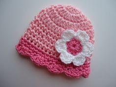 Crocheted Baby Girl Preemie Hat with Flower by KaraAndMollysKids, $11.50