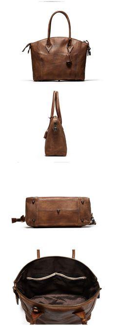 Handmade Full Grain Genuine Leather Tote Bag Women Shopping Bag