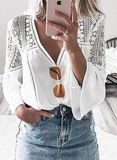 BerryGo V neck hollow out lace blouse shirt Women elegant flare sleeve chiffon shirt top Summer white tops tees blusas 2018 new Sexy Bluse, Look Fashion, Womens Fashion, Ladies Fashion, Fashion Images, Fashion Ideas, Style Casual, Casual Chic, V Neck Blouse