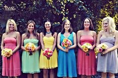 bright wedding ideas | bright bridesmaid bouquets mix and match bridesmaid dresses | OneWed ...