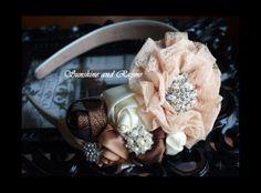 True Romance: Gorgeous Beige/Cream/Nude Satin Rosette, Lace Flower Headband w/ Rhinestone/Pearl Accents - Bridal, Wedding Headband