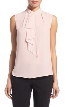 Vince Camuto Vince Camuto Ruffle Tie Neck Sleeveless Blouse (Regular & Petite) available at #Nordstrom