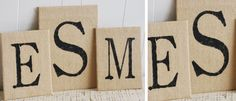 Burlap signs. I think I could make these!