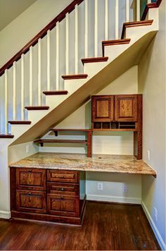 Home Office under the stairs- great use of space!