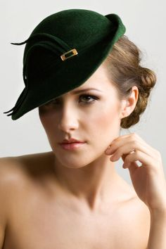 Hunter Green Tilt Hat in Felt with Chic Turn Up Brim, Luxury Garden Party Hat with Gold Detail - MaggieMowbrayHats