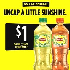 Enjoy the taste of summer with Lipton® Green Tea Citrus and Iced Tea Peach. Click to get ONE 20oz bottle for $1 now at Dollar General. #dollargeneral