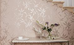 Sefina Whisper Wallpaper | Designer Fabrics 2017 | TM Interiors Limited	 Non-woven Wallcovering A distressed metallic print gives a finely woven appearance to this understated foliage design inspired by the elegant pear trees of Chatsworth House, stately home.Sefina Whisper W407-01 by Romo wallpaper