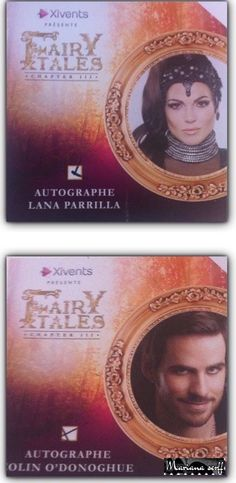 Awesome Lana Parrilla and Colin O Donoghue autograph cards from the FairyTales 3 Con in Paris France given to me by my awesome EvilRegal/Once friend Mariana