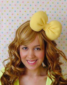 YELLOW Hair Bow Headband Hello Kitty Big Huge Poofy Soft Lemon Beauty And The Beast Inspired Kawaii Princess - For Women Teens and Girls. $14.00, via Etsy.