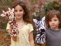 Jungle Hand Puppets to Sew Zebra Giraffe and by whileshenaps, $9.00