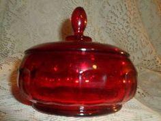 Vntg Fenton Ruby Red Glass HoneyComb ThumbPrint Vanity Powder Box Jar Candy Dish