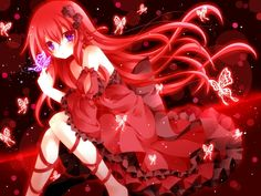 anime girl with red hair   red vocaloid dress megurine luka purple eyes anime girls butterflies ...