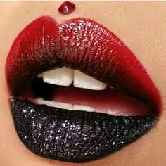 Gradient Red & Black Glitter Lips via #CalypsoGoddess @chassydimitra on Instagram using our Wicked lippie.