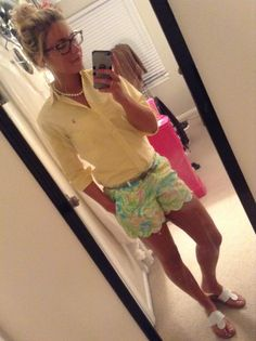 scalloped Lilly shorts, yellow button down, white Jacks